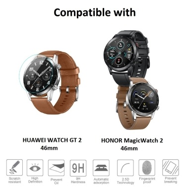 3Pcs Tempered Glass Smartwatch Screen Protector Ultra-thin High Clarity Shatter-proof Anti Scratch Protective Film with Wipes Compatible with HUAWEI WATCH GT 2 / HONOR MagicWatch 2 42mm