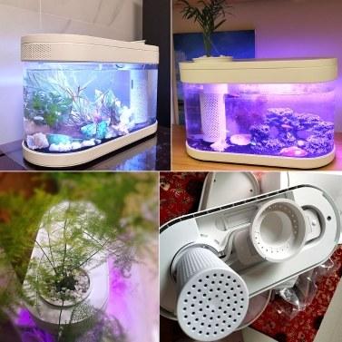 Xiaomi Youpin Desgeo Ökologische Goldfischbecken Wohnzimmer Home Desktop Kleines Symbiose-System Blume Muzy Lazy Aquarium LED Bunte Fischbox mit Sauerstofffilterpumpenset