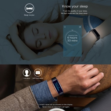 "Telcast H30 Heart Rate Smart BT Sport Watch Wristband Bracelet Fitness Tracker 0.86"" OLED Call Notification Pedometer Alarm Anti-lost Sleep Monitor Smart Wake-up for iPhone 6 6S 6 Plus 6S Plus 7 Plus Samsung S6 S7 edge Android 4.4 iOS 7.0 or above"