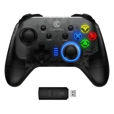 GameSir T4 Wireless Controller 2,4 GHz Drahtlose Verbindung Gamepad Game Controller Kompatibel mit Windows 7/8/10 / Android Konfigurierbare Tasten Strukturierte Tasten Sensitiver 3D-Joystick Bunte LED leuchtet Schwarz