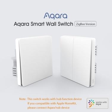 Xiaomi Aqara QBKG04LM Smart Wall Switch Intelligente Wi-Fi-Steuerung Beleuchtung von überall zu Hause Intelligente Wand-Touch-APP Fernbedienung für das Heimgerät Sprachsteuerung Haushalt Kein Hub erforderlich ZigBee-Version