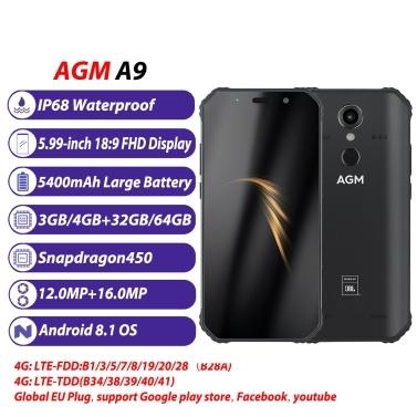 AGM A9 Rugged Smartphone IP68 Waterproof 4GB 32GB - US