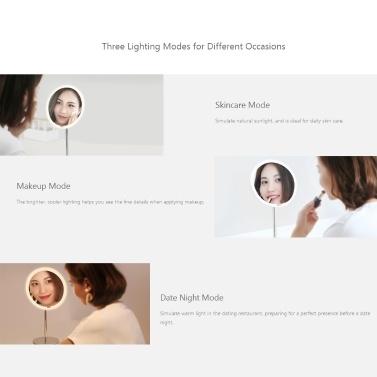 Xiaomi Yeelight Sensor Kosmetikspiegel YLGJ01YL Tragbarer Desktop-Spiegel mit Licht Dimmbar Smart Motion Infrarotsensor Nachtlicht Wiederaufladbar Ra95 3 Lichtmodi