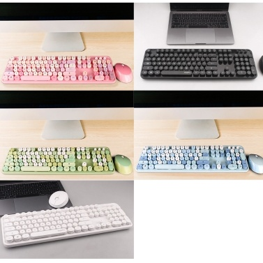 Cordless Mechanical Keyboard Mouse Round Cap Keyboard Office Desktop Keyboard and Mouse Set