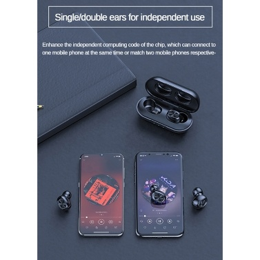 B5 TWS Wireless  BT 5.0 Earphones with Charging Case Waterproof Stereo Sound Earbuds Compatible with Android iOS PC Tablet Black