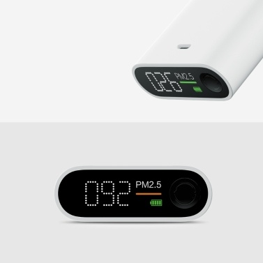 Smartmi PM2.5 Air Device Portable Sensitive Mijia Air Quality Tester LED Screen Three-color Digital Indicator One-button Operation High Precision Laser Sensor Rechargeable Lithium Battery - White