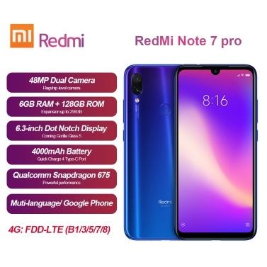 Xiaomi Redmi Note 7 Pro Mobile Phone 6GB 128GB Snapdragon 675 Octa Core  48MP+5MP Dual Camera 6 3inch FHD+ 4000mAh Fingerprint Face Recognition