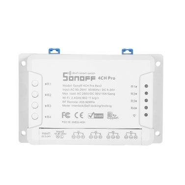 Sonoff 4CH Pro R2 Wi-Fi Smart Switch Drahtloser Fernbedienungsschalter Kompatibel mit Alexa Google Assistant DIY für Fan Glühbirnen Haushaltsgeräte