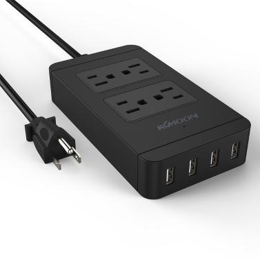 KKmoon 2500W 110-240V 4 uns Verkaufsstellen 4 USB-Ports Power Strip Socket Standardladegerät für Samsung iPhone Tablet