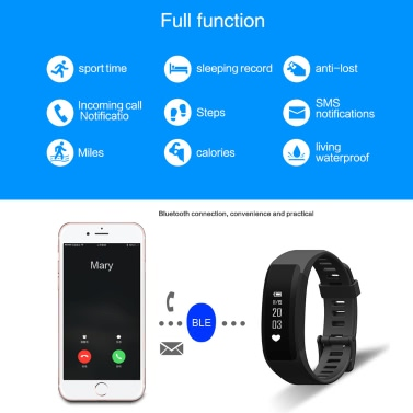 H28 Smart-Sport Fitness Armband Tracker 0.86inch OLED Screen Display DA14580 Chip BLE4.0 50mAh Batterie Intelligent Sport Band Pedometer Kalorien Herzfrequenz-Schlaf-Monitor Call Reminder Kamera / Music Control-Handgelenk-Band für iPhone 6 6S Plus-Samsung S6 S7 Plus-Smartphones iOS Android-Geräte