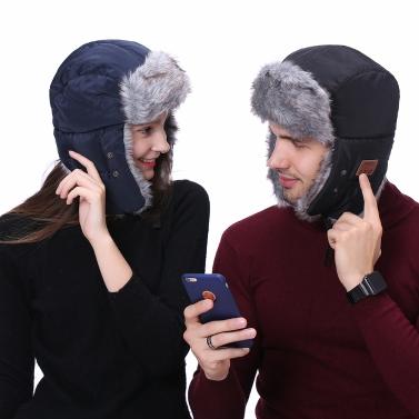 New Winter Hats Ear Flaps Fur Caps Masks Scarf Snow Cap Wireless BT Outdoor Sports Hands-free Mp3 Speaker Magic Music Smart Hat Black