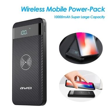 AWEI Wireless Power-Bank 10000mAh Mobiles Netzteil Tragbares Schnelllade-Backup Externes Akkupack für Mobiltelefone