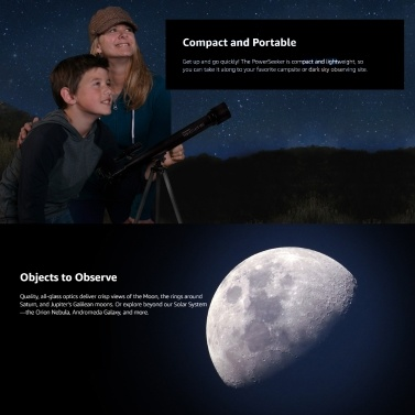 CELESTRON PowerSeeker 50AZ Astronomical Telescope 50mm Aperture Multi-layer Coating Foldable Portable Refractor Telescope for Beginners Children Outdoor