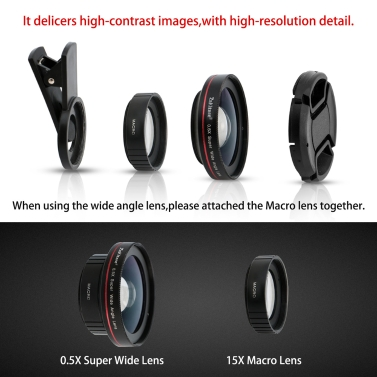 Zakitane Portable Camera Lens 0.5X Super Wide Lens 15X Macro Lens Clip-On Cell Phone Camera Lenses For iPhoneX Samsung S8 Android/iOS Phone Tablet PC Notebook