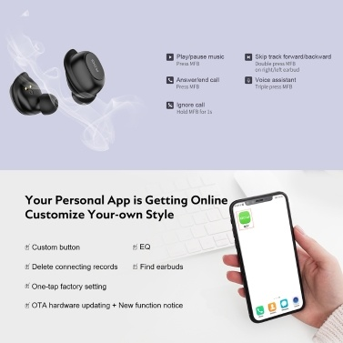 QCY T9 TWS Bluetooth 5.0 Wireless Earphones With Charging Case