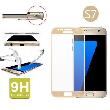 Arealer Full Screen Electroplating Tempered Glass Screen Protector Film Cover Curved Membrane Overall Protective Frame Arc Glass 9H 2.5D Ultrathin High Transparency Anti-scratch Anti-dust Eye-care for Samsung Galaxy S7