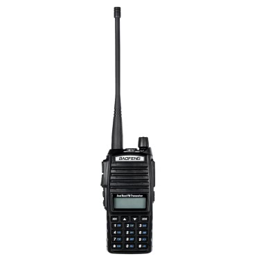 Original BAOFENG UV-82 VHF/UHF Dual Band Handheld Transceiver Interphone LCD FM Radio Receiver 5W 128 Memory Channels CB Radio Dual PTT Launch Key DTMF Encode Emergency Alarm Voice Broadcast VOX Function Battery Save LED Flashlight Walkie Talkie