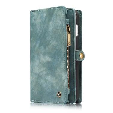 CaseMe 2 in 1 Reißverschluss-Mappen-Telefon-Kasten-Abdeckung PU-Leder Schutzhülle Abnehmbarer Folio Flip Holster Tragetasche Kartenhalter für iPhone 7 Plus-5.5inch