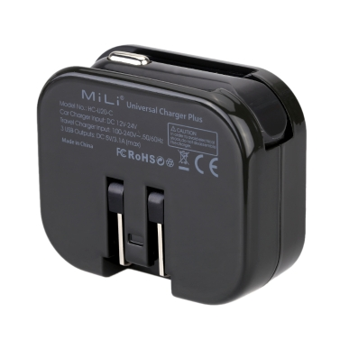 Mili Hc U20 C Universal Plug Adapter Car Charger Wall Charger Travel Universal Adapter Abs Fire