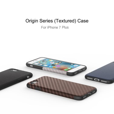 ROCK Carbon Fiber Grain TPU Phone Case 360 Degree Full Protect Phone Cover Protective Shell High Quality Soft Case for iPhone 7 Plus 5.5inch