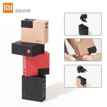 Xiaomi SOLOVE Tragbares Reiseladegerät W2 Folding Universal US EU UK Stecker Adapter 5000mAh Energienbank Doppel USB Ausgang 100-240V