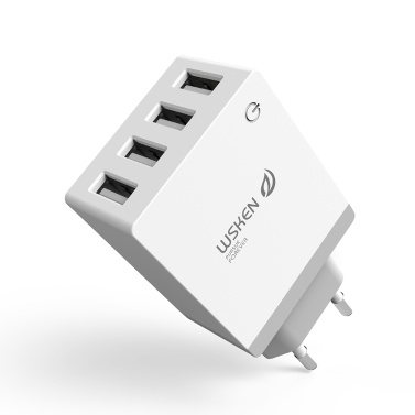 WSKEN 5V 2.1A 4-Port Smart USB Charger EU US UK Plug Travel Wall Charger Charging Power Adapter Universal Mobile Phone Tablet Fast Charger iPhone X Samsung S9 Plus