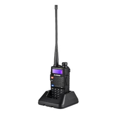 BAOFENG UV-5RC Mobile 2-Wege Funk Walkie Talkie VHF / UHF Dualband Handfunkgerät Gegensprechanlage mit LCD FM Radio Empfänger 128 Speicherkanäle DTMF Encode VOX mit Standfuß