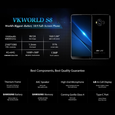 vkworld S8 Face Recognition 5.99-inches 18:9 Full Screen Smartphone 4GB RAM 64GB ROM