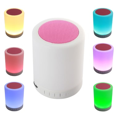 Arealer LV2016 Premium Wireless Stereo BT Speaker Box 7-Color LED Desk Bed Lamp Eyes Protection Hands-free TF Card for iPhone Android Smartphone iPad mini Air Tablet Anti-skid Durable