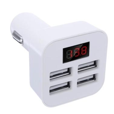 Cargador de coche rápido con 4 puertos USB 5V 3.1A con pantalla LED Cargador de viaje cargador de viaje de carga rápida para iPhone Samsung Huawei iPad Tablet Cámara