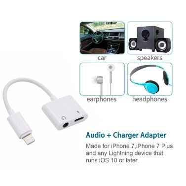 2 In 1 Audio Charging Adapter Lightning Adapter 3.5mm Earphone Jack AUX Audio Charger Adaptador Earphone Splitter Connector for iPhone X XS XR 8 7 Plus iOS