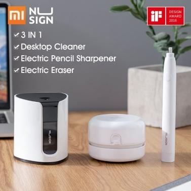 Xiaomi nusign papelaria elétrica set 3 em 1 limpador de mesa apontador de lápis elétrico apagador elétrico para estudantes da escola de escritório