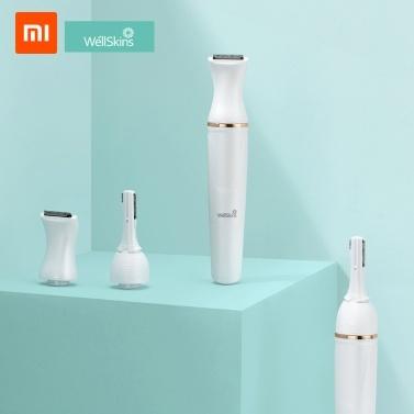 Xiaomi Youpin Wéllskins Электрическая триммер для бровей Repairer Бритва Удаление волос на теле с поворотной головкой Регулируемая головка для удаления волос 30 ° для женщин Безболезненная бритва для женщин 6 в 1 с 1 батареей AAA