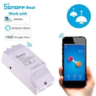 Sonoff Dual R2 WiFi Smart Switch Télécommande sans fil à 2 dispositifs de réseau pour WiFi avec la maison