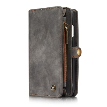 CaseMe 2 in 1 Reißverschluss-Mappen-Telefon-Kasten-Abdeckung PU-Leder Schutzhülle Abnehmbarer Folio Flip Holster Tragetasche Kartenhalter für iPhone 7 4.7inch