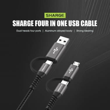 Sharge 4-in-1 Adapter USB Cable USB-A to Micro USB USB-C to Micro USB USB-C Knitted Cable For Phone  Mini Fan USB-Charging devices