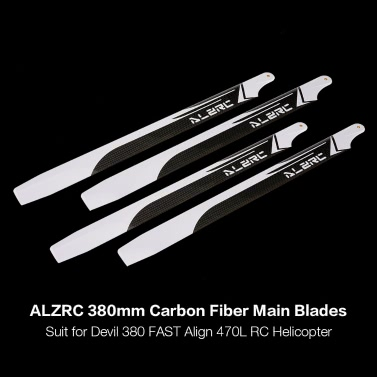 2 Pairs ALZRC 380mm Carbon Fiber Main Blades for Devil 380 FAST Align 470L RC Helicopter