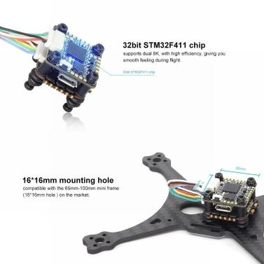 HGLRC FD413 STACK Kombiniert mit 16x16 2-4S F411 Flight Controller und FD13A BLS 4in1 ESC für FPV Racing Drone