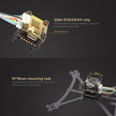 HGLRC FD413-VTX STACK Kombiniert mit 16x16 2-4S F411 Flight Controller FD Micro VTX und FD13A BLS 4in1 ESC für FPV Racing Drone