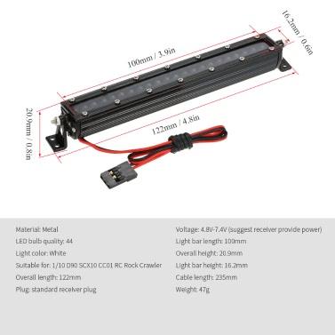 1/10 C Series High Performance Bright LED Light Bar Metal Roof Light Lamp for 1/10 HSP RC4WD Axial D90 SCX10 Traxxas TAMIYA CC01 RC Rock Crawler