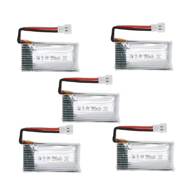 5Pcs 3.7V 350mAh 20C Lipo Battery Kit for JJRC H6C H6D Hubsan H107C Fayee FY801 RC Quadcopter