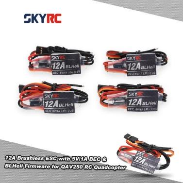 4Pcs Original SKYRC 12A Brushless ESC elektronische Fahrtregler mit 5V/1A BEC & BLHeli Firmware für QAV250 RC Quadrocopter
