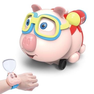 R09 rc robô de brinquedo de porco 2.4g relógio rc animal de brinquedo de carro com seguir spray de música função