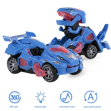 Dinosaur Car Toys Transformable Dinosaur Pull Back Car Toy Elétrico 360 ° Spin with Light Music Action Walking