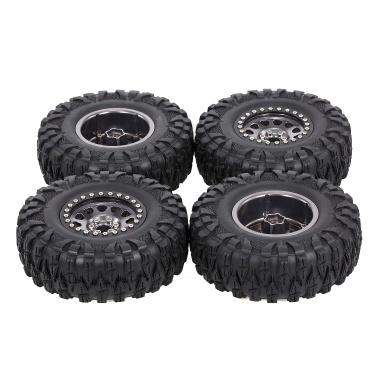 4PCS 2.2IN Crawler RC Tires with Metal Rim Ultra Soft Rock Crawler Tires for 1/10 rc Rock Crawler Traxxas Trx4 TRX-6 Axial Scx10 90046