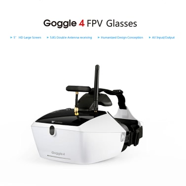 """Original Walkera Goggle 4 5.8G FPV 40CH Aerial Video Glasses with Double Antennas Receiving 5"""" HD Large Screen for Runner 250 F210 Rodeo 150 Furious 320 Racing Drone"""