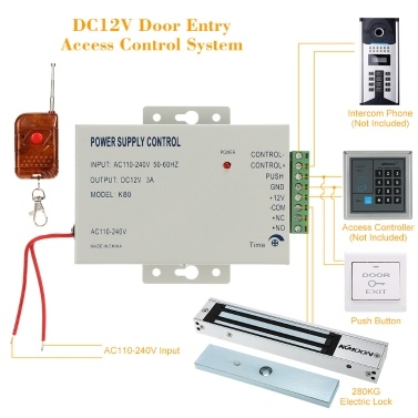 KKmoonu00ae DC12V Door Entry Access Control System 280KG Electric Lock + Power Supply + Push Button + 1*Remote Controller Fail Secure NC Power Unlock