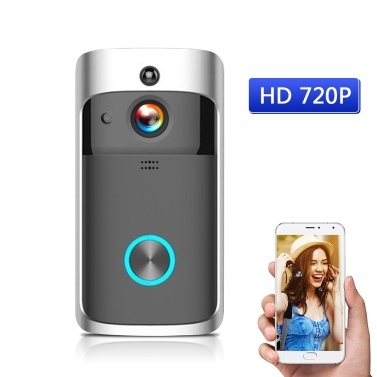 HD 720P Smart WiFi Security DoorBell sin pilas Black