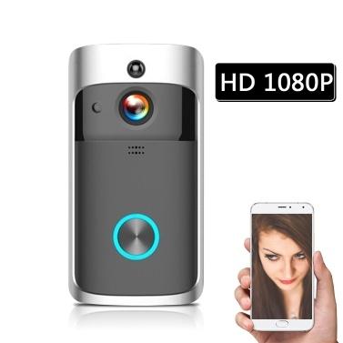 HD 1080P  WiFi Smart Wireless Security DoorBell  without batteries Black