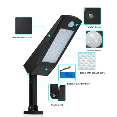 Solar Powered Floodlight 48 LED Solar Lights , 900LM Wireless Auto Motion Sensor Wall Light IP65 Waterproof Outdoor Security Lights With 180° Adjustable Pole for Home, Garden, Lawn